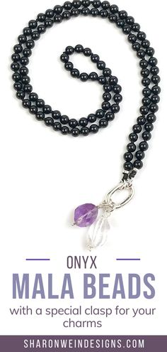 A special gemstone necklace made with 6mm onyx beads perfect to wear anytime. Because it's made with 108 beads, you can also use it during your meditation practice. A timeless and unique necklace. Semi Precious Beads, Semi Precious Gemstones, Gemstone Necklace, Beaded Necklace, Unique Necklaces, Quartz Crystal, One Pic, Meditation, Bracelets