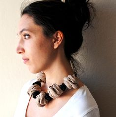 Black and Taupe Textile JewelryChunky Statement by MaterialAtelier