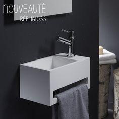 Lave-mains rectangulaire en Solidsurface, qualité haut de gamme, avec porte serviette #planetebain #salledebain #lavemains