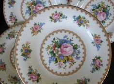 1944 Royal Albert Lady Carlyle Salad Plates Set of by ChinaGalore