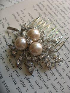Nature Swarovski pearls leaf and rhinestones by weddingvalle, $29.99