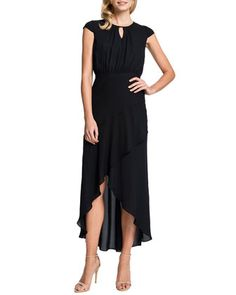 Adeline Keyhole-Neck High-Low Dress by Cynthia Steffe at Neiman Marcus.
