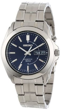 Seiko Men's SMY111 Stainless Steel Kinetic Blue Dial Watch  $116.70 Buy it at: http://premierjewelry.biz/product/seiko-mens-smy111-stainless-steel-kinetic-blue-dial-watch