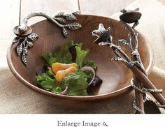 Mud Pie Metal Wood Bird Serving Board