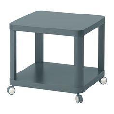 IKEA - TINGBY, Sidobord med hjul, turkos, , Separat hylla för förvaring av exempelvis tidningar hjälper dig att hålla ordning på dina saker och frigör bordsyta.Hjulen gör att du lätt kan flytta bordet vid behov.