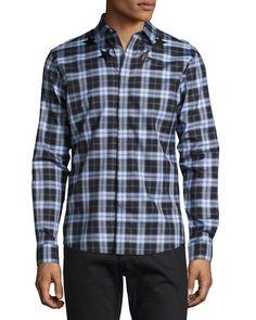 GIVENCHY Plaid With Star-Print Woven Shirt, Orange, Light Blue/Black. #givenchy #cloth #