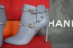 Valentino Rockstud Azure Steel Boots