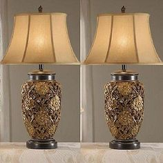 2 Pieces Electric Silk Shade Gold Antique Home Bedroom Table Lighting Lamps Set