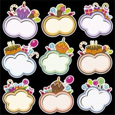 Birthday frames with cloud shape Free Vector
