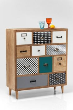 how to customize a piece of furniture, furniture makeover before after, furniture with wallpaper-covered drawer doors, furniture with small light wood legs Funky Furniture, Upcycled Furniture, Rustic Furniture, Furniture Makeover, Painted Furniture, Furniture Design, Furniture Stores, Furniture Online, Furniture Outlet