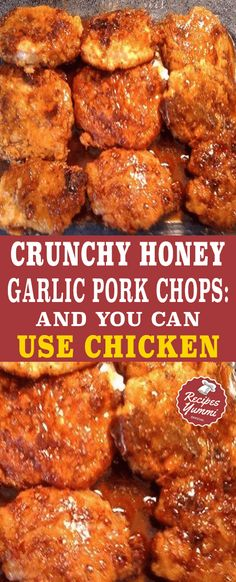 Crunchy Honey Garlic Pork Chops: And You Can Use Chichen - Food Recipes Fried Pork Chops, Pork Loin Chops, Baked Pork, Pork Chop Recipes, Meat Recipes, Chicken Recipes, Cooking Recipes, Recipies, Healthy Chicken