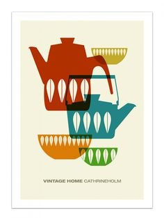 Kitchen art, Cathrinholm poster, Mid Century Modern print, Scandinavian, retro poster - Vintage Home Cathrineholm 1 - Large 50 x Modern Prints, Mid-century Modern, Luba Lukova, Estilo Retro, Scandinavian Art, Mid Century Decor, Mid Century Modern Design, Kitchen Art, Illustrations And Posters