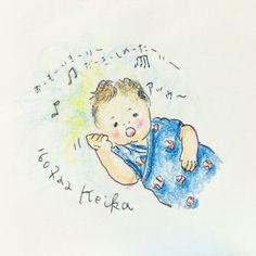 【Around midnight】私と一緒になってドリカムを熱唱するムスッコ(そう見える!)。my son sings along!!(seems so!) #笑顔の行方 #drawing #illustration #baby #2ヶ月 #赤ちゃん #おえかき #イラスト #ドリカム #DCT #dreamscometrue