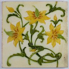 Antique Pilkington  Arts & Crafts - Lewis F Day Ceramic Tile - 1901