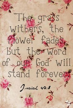 The grass withereth, the flower fadeth: but the word of our God shall stand for ever.