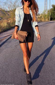 Denim shirt, black dress, ankle booties, and fringe