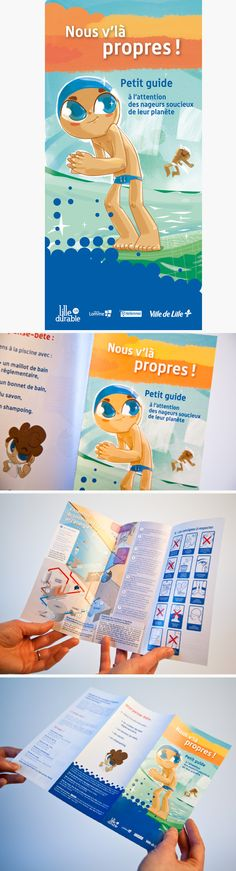 """Ville de Lille / Dalkia : dépliant """"Piscines"""" © Sous Tous les Angles, illustrations : AISK"""