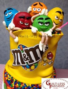 that's how his M&Ms get gone so fast👀! M And S Cakes, Cakes For Boys, Beautiful Cakes, Amazing Cakes, Candy Pictures, Gravity Cake, Character Cakes, Novelty Cakes, Fancy Cakes