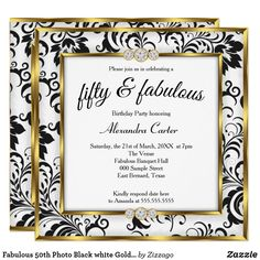 Shop Fabulous 50 Photo Gold gray Black Damask birthday Invitation created by Zizzago. Personalize it with photos & text or purchase as is! Photo Gold, Photo Black, 50th Birthday Invitations, Custom Invitations, 50th Birthday Party For Women, Birthday Fun, Birthday Parties, Birthday Gifts, Damask Party