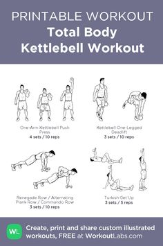 Total Body Kettlebell Workout:my visual workout created at WorkoutLabs.com • Click through to customize and download as a FREE PDF! #customworkout Fit Board Workouts, Gym Workouts, Turkish Get Ups, Reps And Sets, Overhead Press, Printable Workouts, Love My Body, Total Body, Daily Workouts