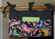 BUNK BED CADDY perfect for college girl's dorm room top bunks. Multicolored butterflies and black and white dots.. $40.00, via Etsy.