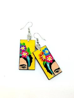 Frida Kahlo Hand Painted Wooden Earrings 