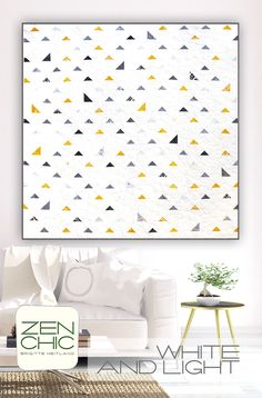 Modern quilt pattern making use of a Mini Charm Packs. The used fabrics are FRAGILE by Zen Chic for Moda and minimalistic look with lots of white makes for a fresh lap quilt. A pattern even for the beginner. Download your PDF instantly here