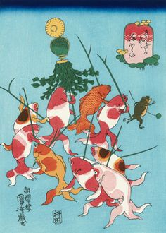 Utagawa Kuniyoshi (Japanese Ukiyo-e Printmaker, ca.1797-1861) / Matoi, from the series Goldfish (Kingyo Tsukushi)