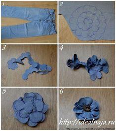 Dos flores de jeans, seguimos reciclando con estilo. ~ Flores hechas a mano