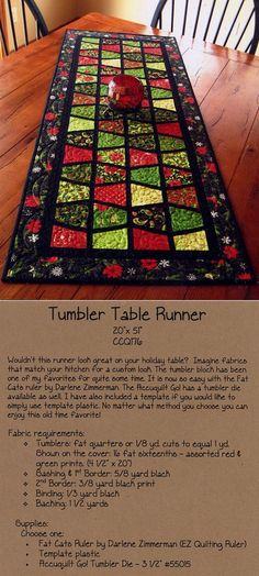 Tumbler Table Runner  The Tumbler Block does not always appeal to me but I like this with the black borders. The color contrast is fantastic.