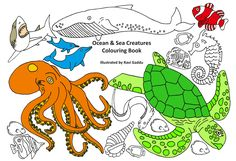 Come explore this beautiful colouring book of ocean and sea creatures. There are many different types of creatures to colour in; blue whales, sharks, orca, hammer head sharks, jelly fish, dolphins, lion fish, angular fish, octopus, seahorses, clown fish, starfish, sea lions, penguins, walrus, dragon fish, turtles, coral reef, rays, eel, sword fish, puffer fish, mandarin fish, squid, butterfly fish and many other types of fish from the oceans, seas, rivers and corals from across the world.