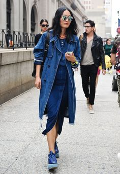 Triple Denim in street style at New York Fashion Week Spring 2015.