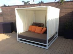 Riviera Modern Outdoor Leisure Daybed with Canopy Daybed Canopy, Modern Canopy Bed, Daybed Mattress, Outdoor Daybed, Outdoor Seating, Outdoor Fabric, Modern Furniture, Home Furniture, Furniture Ideas