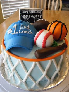 Sports cake Learn how to create your own amazing cakes: www.mycakedecorating.co.za #cake #baking #fathersday