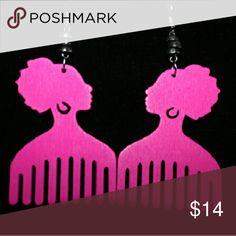 Jewelry Pink wooden earrings Jewelry Earrings