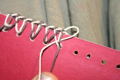 Two-color coptic stitch edge decoration - clear tutorial