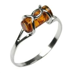 Certified Genuine Honey Amber and Sterling Silver Designer Ring, Sizes 5,6,7,8,9,10,11,12