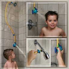 $15 Kids Shower turn your adult height shower into a children's height shower easy quick cheap bath time toddler. Make them feel like a big kid!