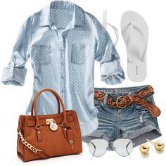 Chambray/Ivory Dot Shirt & Jean Shorts