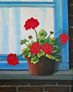 drawings of geraniums | acrylic - geraniums on my windowsill by Linda Rempel