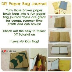DIY Paper bag craft journal button small - Turn those brown paper bags into a fun paper bag journal!