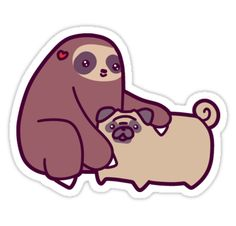 """Sloth and Pug"" Stickers by SaradaBoru | Redbubble"