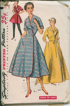 1953 Wrap Duster Robe Housecoat Simplicity 4474 Sewing Pattern Vintage Size 14. $20.00, via Etsy.