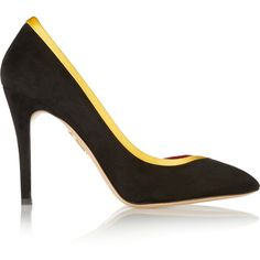 Charlotte Olympia Satin-trimmed suede pumps (4 310 ZAR) ❤ liked on Polyvore featuring shoes, pumps, black, pointed-toe pumps, suede slip on shoes, black high heel pumps, suede shoes and black slip on shoes