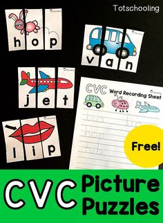Free CVC Picture Puzzles FREE CVC word puzzles for kindergarten kids learning to read. These puzzles are self-correcting with pictures, great for a literacy center. Also includes a recording sheet for writing practice. Kindergarten Literacy Stations, Preschool Literacy, Kindergarten Writing, Literacy Activities, Literacy Centers, Reading Centers, Reading Workshop, Kindergarten Worksheets, Spelling Activities