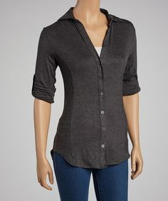 Take a look at this Charcoal Button-Up Top by Zenana on #zulily today! $12 !!