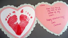Jany Claire: Baby footprints heart card- perfect for Valentine's Day!