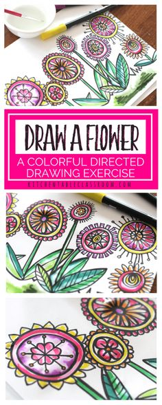 If you ask kids how to draw a flower most will be able to draw a cartoon-y flower pretty confidently. Use these directed drawing tips and paint with markers technique to take their flowers from simple to colorful, complex doodles that will even impress the artists themselves!