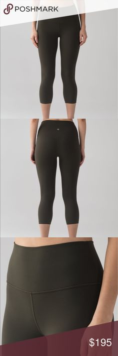 🎉CLOSET CLOSING • lululemon dark olive align crop SOLD OUT, NWT! Never worn. Super comfortable! Less is more—we made these tights with minimal seams and pockets to remove distractions so you can stay focused on your training. Price is FIRM, if I don't sell these at the listed price then I'll probably just keep:)  NULUX™ Nulux™ fabric is quick-drying, sweat-wicking, and offers lightweight coverage lululemon athletica Pants Leggings