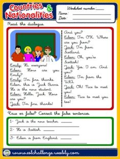 COUNTRIES AND NATIONALITIES - WORKSHEET 1 (A)